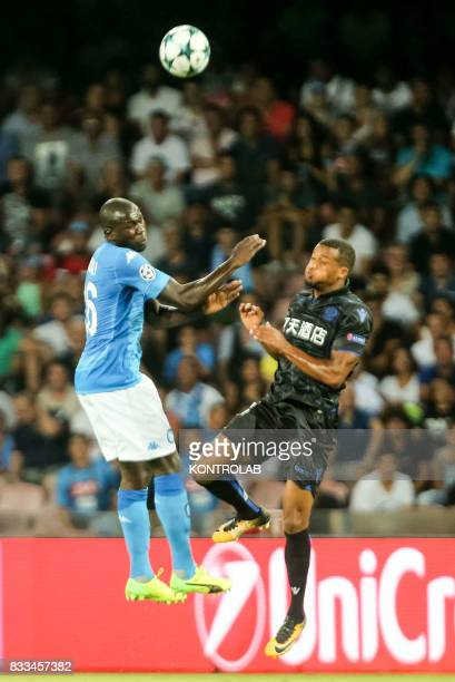 Kalidou Koulibaly Napoli defender and Jean Michaël Seri midfielder of Nice during the match between SSC Napoli and OGC Nice to qualify for the...