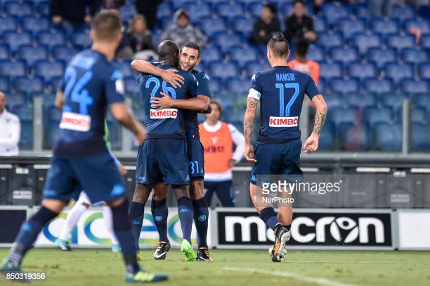 Kalidou Koulibaly of Napoli celebrates scoring first goal during the Serie A match between Lazio and Napoli at Olympic Stadium Roma Italy on 20...