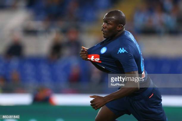 Kalidou Koulibaly of Napoli celebrating after the goal scored during the Serie A match between SS Lazio and SSC Napoli at Stadio Olimpico on...