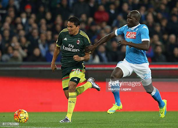 Kalidou Koulibaly of Napoli competes for the ball with Carlos Bacca of Milan during the Serie A between SSC Napoli and AC Milan at Stadio San Paolo...