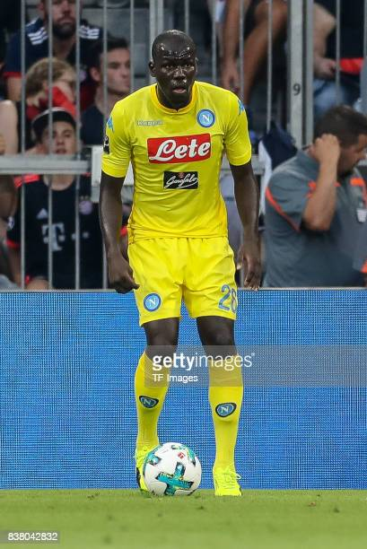 Kalidou Koulibaly of Napoli controls the ball during the first Audi Cup football match between Atletico Madrid and SSC Napoli in the stadium in...