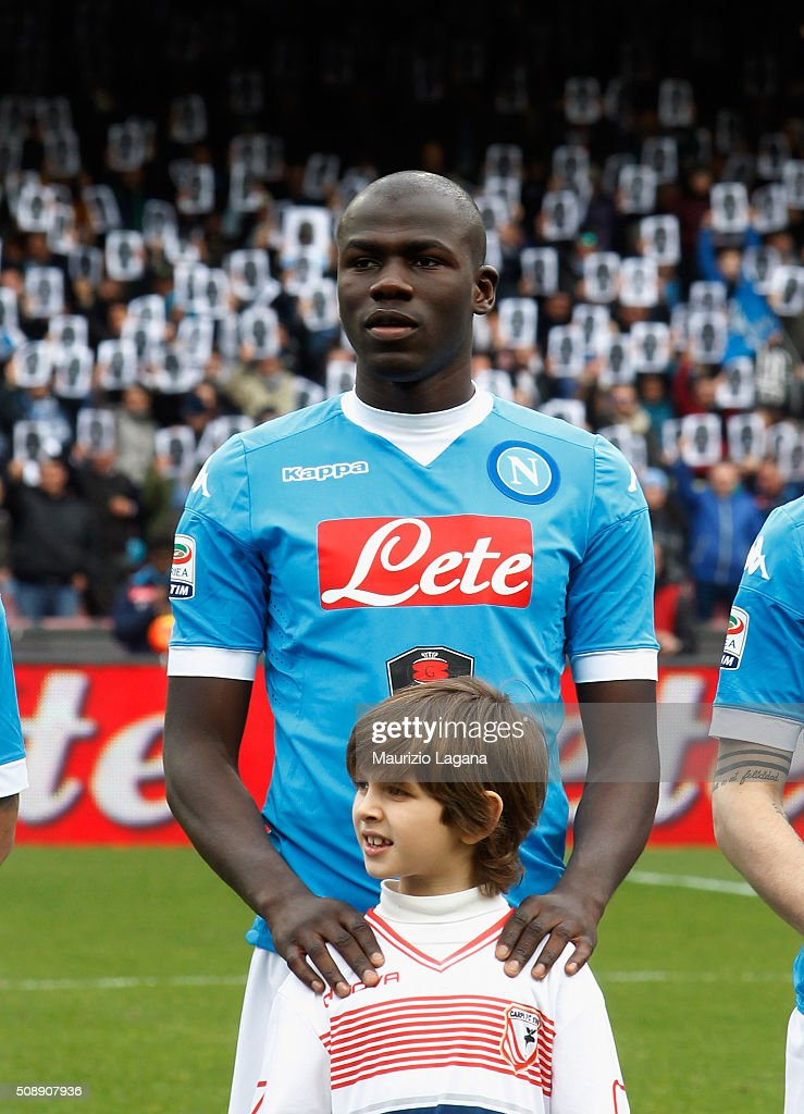<a gi-track='captionPersonalityLinkClicked' href=/galleries/search?phrase=Kalidou+Koulibaly&family=editorial&specificpeople=7815250 ng-click='$event.stopPropagation()'>Kalidou Koulibaly</a> of Napoli during the Serie A match between SSC Napoli and Carpi FC at Stadio San Paolo on February 7, 2016 in Naples, Italy.