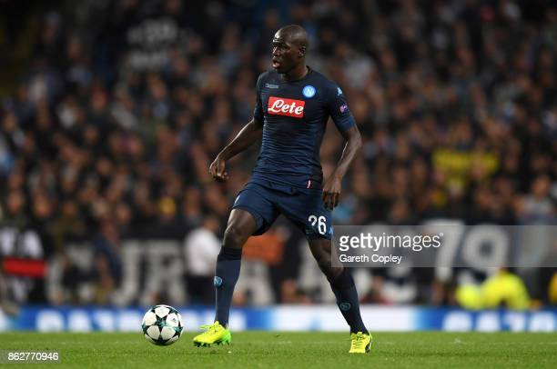 Kalidou Koulibaly of Napoli during the UEFA Champions League group F match between Manchester City and SSC Napoli at Etihad Stadium on October 17...