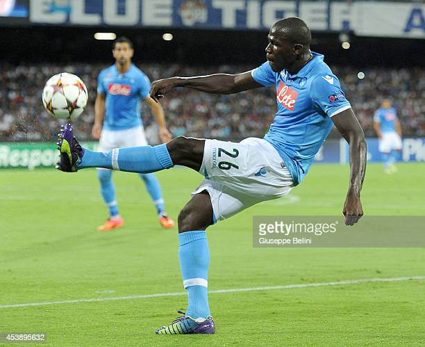 Kalidou Koulibaly of Napoli in action during the first leg of UEFA Champions League qualifying playoffs round match between SSC Napoli and Athletic...