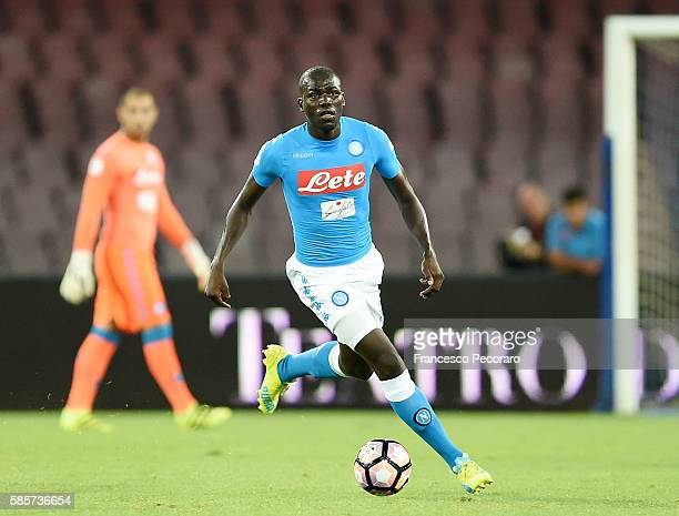 Kalidou Koulibaly of Napoli in action during the preseason friendly match between SSC Napoli and OGC Nice at Stadio San Paolo on August 1 2016 in...