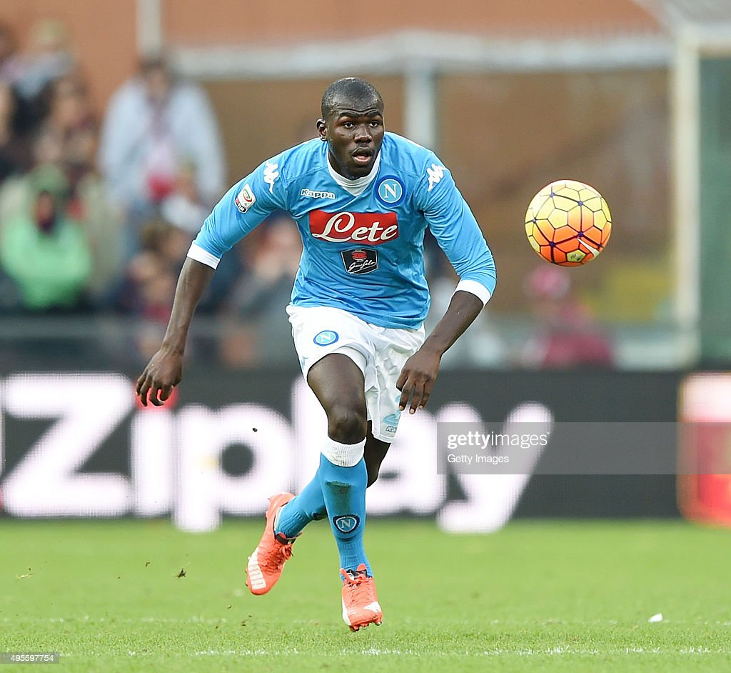 <a gi-track='captionPersonalityLinkClicked' href=/galleries/search?phrase=Kalidou+Koulibaly&family=editorial&specificpeople=7815250 ng-click='$event.stopPropagation()'>Kalidou Koulibaly</a> of Napoli in action during the Serie A match between Genoa CFC and SSC Napoli at Stadio Luigi Ferraris on November 1, 2015 in Genoa, Italy.
