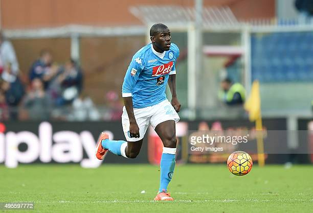 Kalidou Koulibaly of Napoli in action during the Serie A match between Genoa CFC and SSC Napoli at Stadio Luigi Ferraris on November 1 2015 in Genoa...