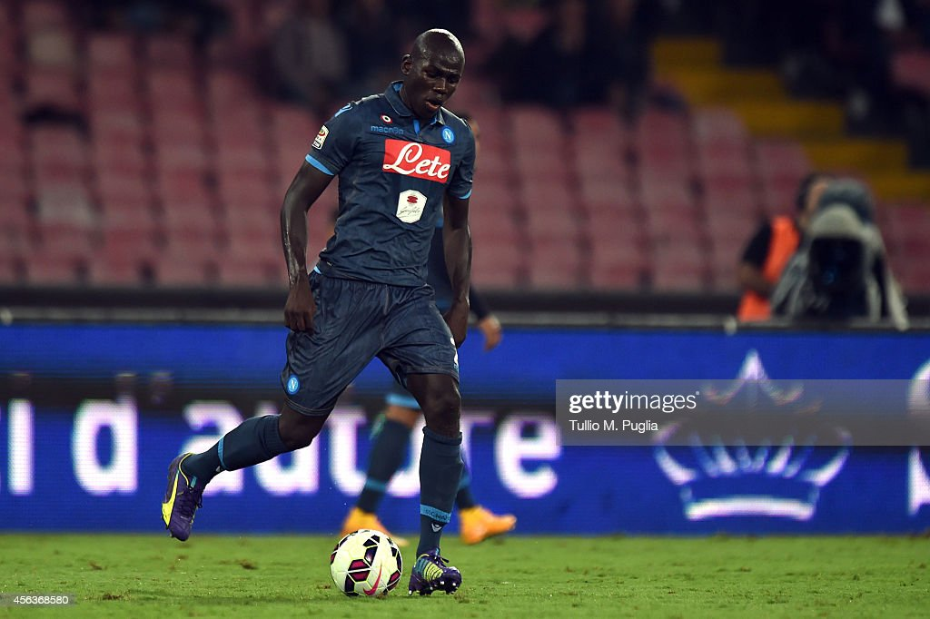 <a gi-track='captionPersonalityLinkClicked' href=/galleries/search?phrase=Kalidou+Koulibaly&family=editorial&specificpeople=7815250 ng-click='$event.stopPropagation()'>Kalidou Koulibaly</a> of Napoli in action during the Serie A match between SSC Napoli and US Citta di Palermo at Stadio San Paolo on September 24, 2014 in Naples, Italy.