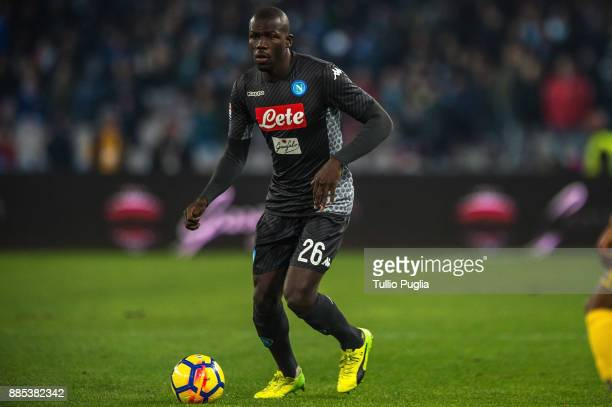 Kalidou Koulibaly of Napoli in action during the Serie A match between SSC Napoli and Juventus at Stadio San Paolo on December 1 2017 in Naples Italy