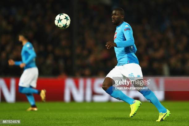 Kalidou Koulibaly of Napoli in action during the UEFA Champions League group F match between Feyenoord and SSC Napoli at Feijenoord Stadion on...