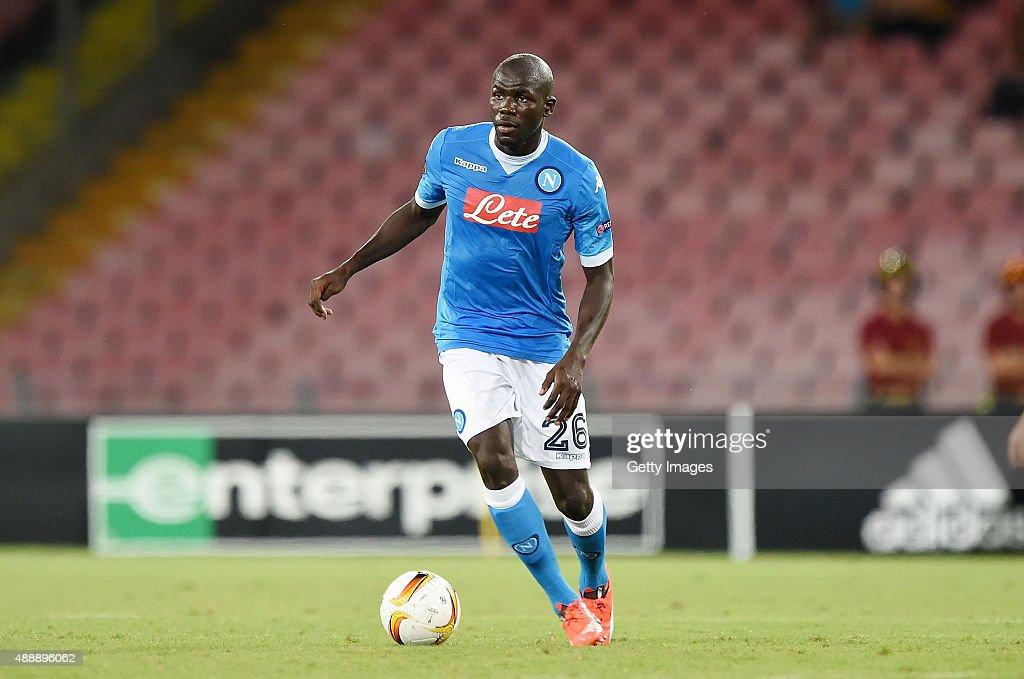 <a gi-track='captionPersonalityLinkClicked' href=/galleries/search?phrase=Kalidou+Koulibaly&family=editorial&specificpeople=7815250 ng-click='$event.stopPropagation()'>Kalidou Koulibaly</a> of Napoli in action during the UEFA Europa League match between Napoli and Club Brugge KV on September 17, 2015 in Naples, Italy.