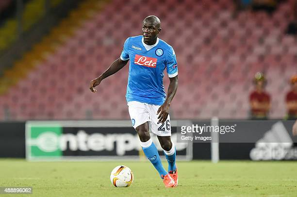 Kalidou Koulibaly of Napoli in action during the UEFA Europa League match between Napoli and Club Brugge KV on September 17 2015 in Naples Italy