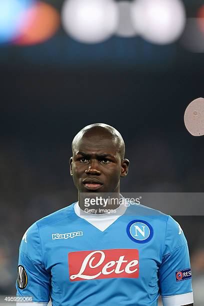 Kalidou Koulibaly of Napoli in action during the UEFA Europa League Group D match between SSC Napoli and FC Midtjylland at Stadio San Paolo on...