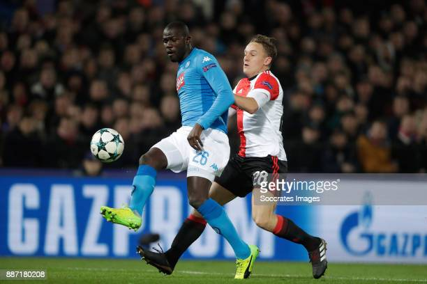Kalidou Koulibaly of Napoli Jens Toornstra of Feyenoord during the UEFA Champions League match between Feyenoord v Napoli at the Feyenoord Stadium on...