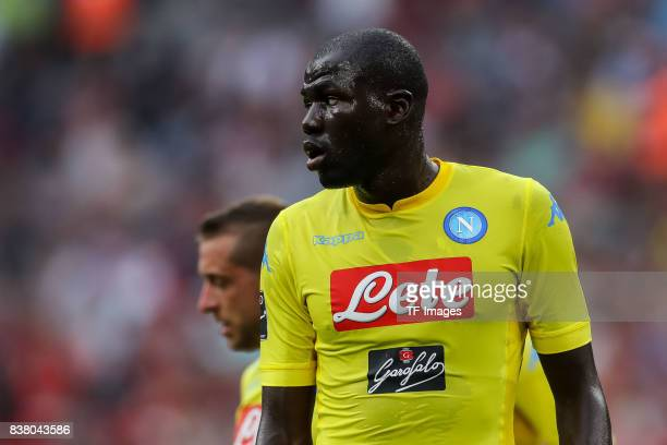 Kalidou Koulibaly of Napoli looks on during the first Audi Cup football match between Atletico Madrid and SSC Napoli in the stadium in Munich...