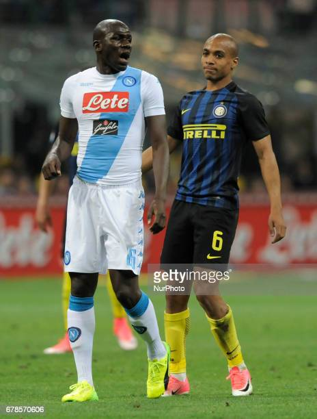 Kalidou Koulibaly of Napoli player and Joao Mario of Inter player during the Serie A match between FC Internazionale and SSC Napoli at Stadio...