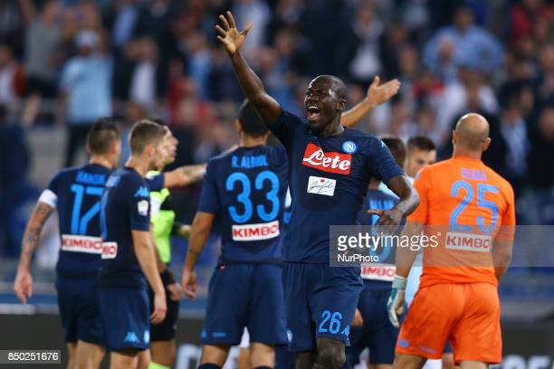 Kalidou Koulibaly of Napoli reclaiming with the lineman during the Serie A match between SS Lazio and SSC Napoli at Stadio Olimpico on September 20...