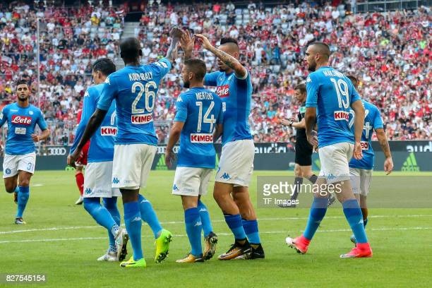 Kalidou Koulibaly of Neapel celebrates after scoring his team`s first goal during the Audi Cup 2017 match between SSC Napoli and FC Bayern Muenchen...