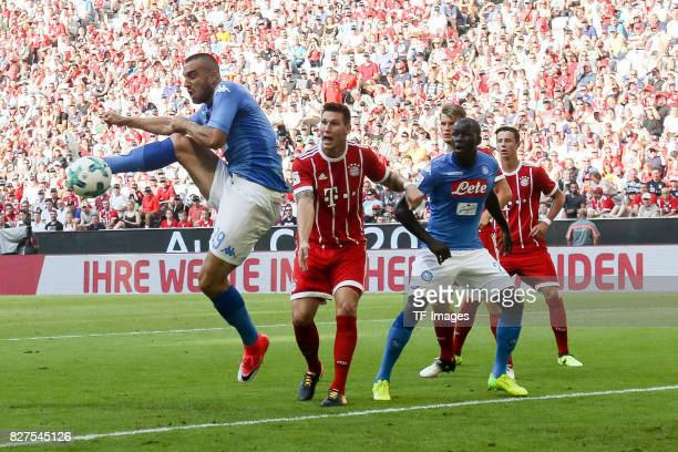 Kalidou Koulibaly of Neapel scores a goal u during the Audi Cup 2017 match between SSC Napoli and FC Bayern Muenchen at Allianz Arena on August 2...