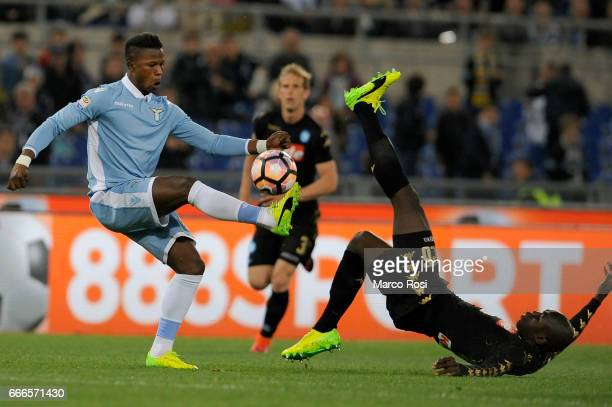 Kalidou Koulibaly of SSC Napoli battles with Balde Diao Keita of SS Lazio during the Serie A match between SS Lazio and SSC Napoli at Stadio Olimpico...