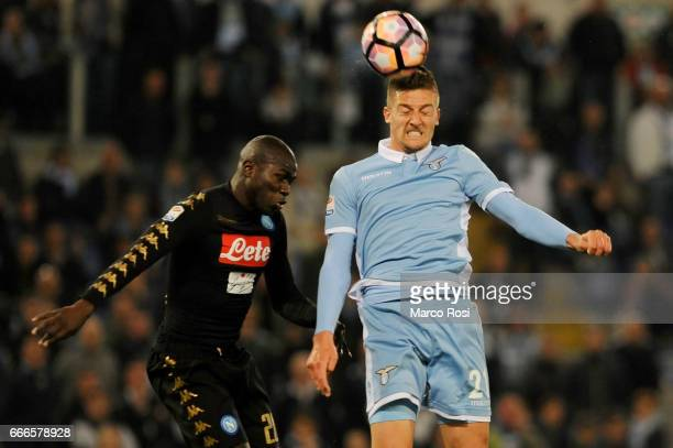 Kalidou Koulibaly of SSC Napoli battles with Sergej Milinkovic Savic of SS Lazio during the Serie A match between SS Lazio and SSC Napoli at Stadio...