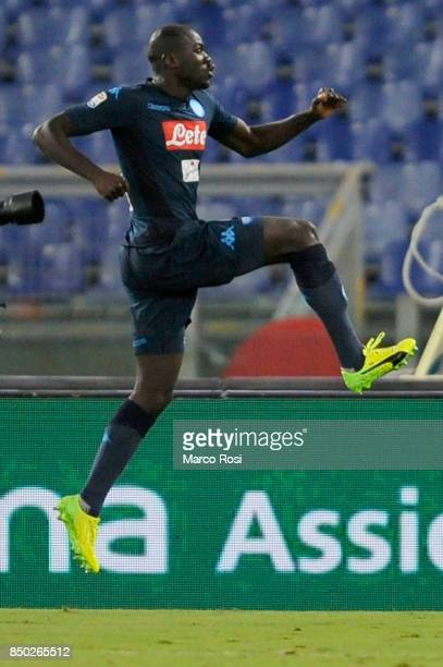 Kalidou Koulibaly of SSC Napoli celebrate a frist goial during the Serie A match between SS Lazio and SSC Napoli at Stadio Olimpico on September 20...