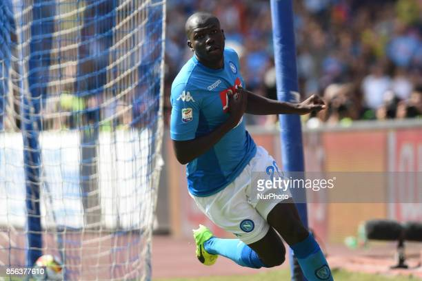 Kalidou Koulibaly of SSC Napoli celebrates after scoring during the Serie A TIM match between SSC Napoli and Cagliari Calcio at Stadio San Paolo...