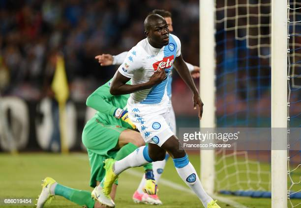 Kalidou Koulibaly of SSC Napoli celebrates after scoring goal 10 during the Serie A match between SSC Napoli and ACF Fiorentina at Stadio San Paolo...