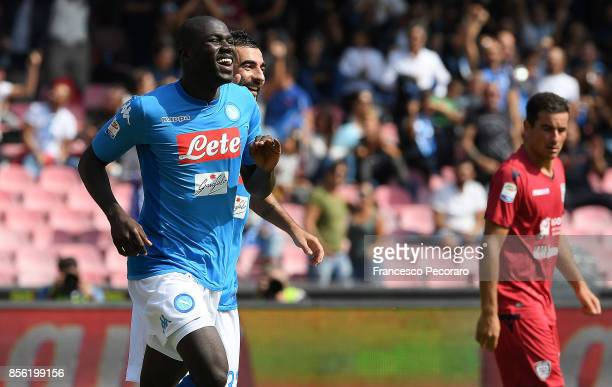 Kalidou Koulibaly of SSC Napoli celebrates after scoring goal 30 during the Serie A match between SSC Napoli and Cagliari Calcio at Stadio San Paolo...