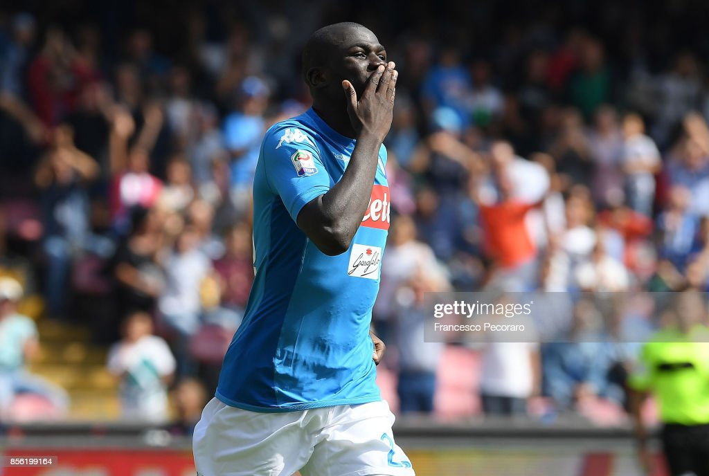 Kalidou Koulibaly of SSC Napoli celebrates after scoring goal 3-0 during the Serie A match between SSC Napoli and Cagliari Calcio at Stadio San Paolo on October 1, 2017 in Naples, Italy.