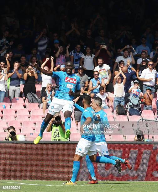 Kalidou Koulibaly of SSC Napoli celebrates after scoring his team's third goal during the Serie A match between SSC Napoli and Cagliari Calcio at...