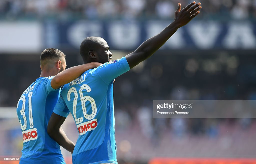 Kalidou Koulibaly of SSC Napoli celebrates after scoring his team's third goal during the Serie A match between SSC Napoli and Cagliari Calcio at Stadio San Paolo on October 1, 2017 in Naples, Italy.