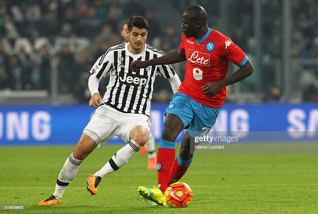 <a gi-track='captionPersonalityLinkClicked' href=/galleries/search?phrase=Kalidou+Koulibaly&family=editorial&specificpeople=7815250 ng-click='$event.stopPropagation()'>Kalidou Koulibaly</a> (R) of SSC Napoli competes for the ball with <a gi-track='captionPersonalityLinkClicked' href=/galleries/search?phrase=Alvaro+Morata&family=editorial&specificpeople=6523866 ng-click='$event.stopPropagation()'>Alvaro Morata</a> (L) of Juventus FC during the Serie A match between and Juventus FC and SSC Napoli at Juventus Arena on February 13, 2016 in Turin, Italy.