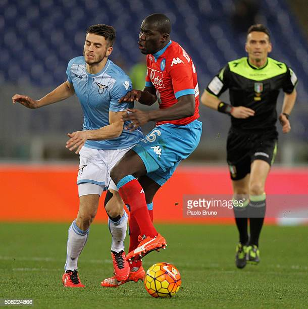 Kalidou Koulibaly of SSC Napoli competes for the ball with Wesley Hoedt of SS Lazio during the Serie A match between SS Lazio and SSC Napoli at...