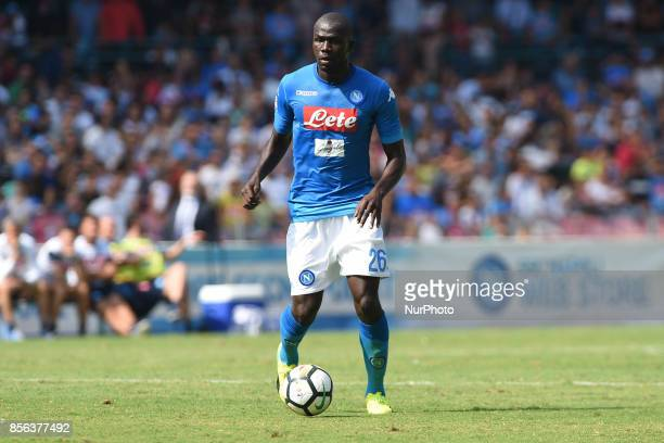 Kalidou Koulibaly of SSC Napoli during the Serie A TIM match between SSC Napoli and Cagliari Calcio at Stadio San Paolo Naples Italy on 1 October 2017