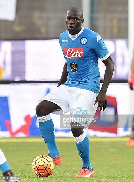 Kalidou Koulibaly of SSC Napoli in action during the Serie A match between Frosinone Calcio and SSC Napoli at Stadio Matusa on January 10 2016 in...