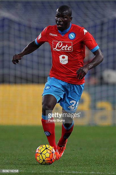 Kalidou Koulibaly of SSC Napoli in action during the Serie A match between SS Lazio and SSC Napoli at Stadio Olimpico on February 3 2016 in Rome Italy