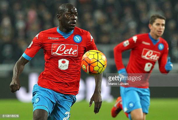 Kalidou Koulibaly of SSC Napoli in action during the Serie A match between and Juventus FC and SSC Napoli at Juventus Arena on February 13 2016 in...
