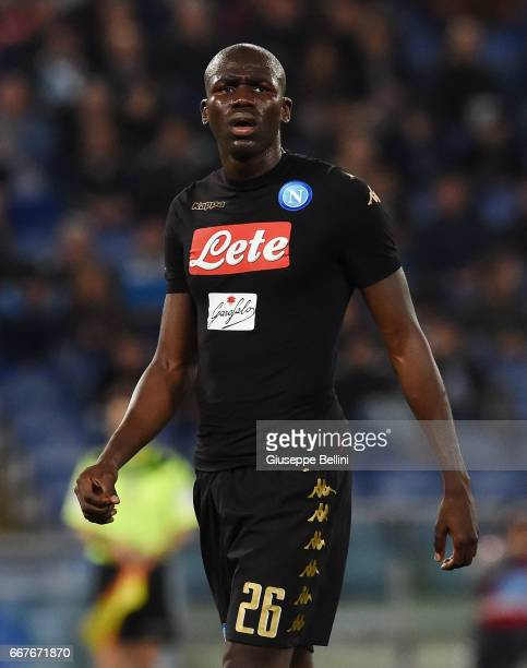 Kalidou Koulibaly of SSC Napoli in action during the Serie A match between SS Lazio and SSC Napoli at Stadio Olimpico on April 9 2017 in Rome Italy