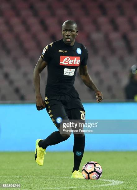 Kalidou Koulibaly of SSC Napoli in action during the Serie A match between SSC Napoli and Udinese Calcio at Stadio San Paolo on April 15 2017 in...