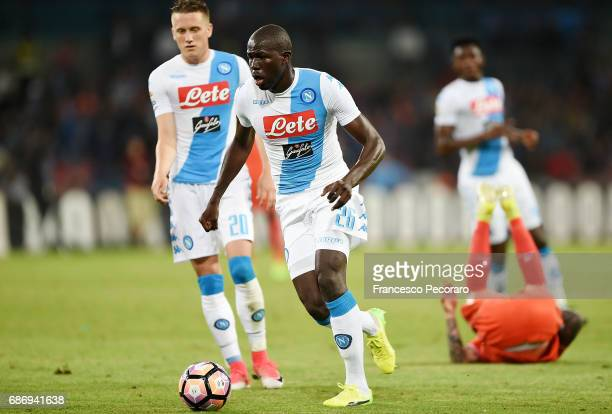 Kalidou Koulibaly of SSC Napoli in action during the Serie A match between SSC Napoli and ACF Fiorentina at Stadio San Paolo on May 20 2017 in Naples...