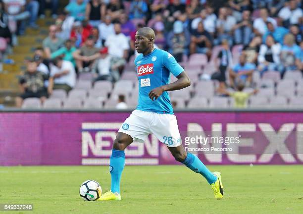 Kalidou Koulibaly of SSC Napoli in action during the Serie A match between SSC Napoli and Benevento Calcio at Stadio San Paolo on September 17 2017...