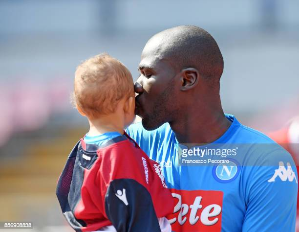Kalidou Koulibaly of SSC Napoli in action during the Serie A match between SSC Napoli and Cagliari Calcio at Stadio San Paolo on October 1 2017 in...