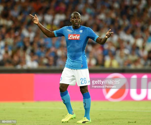 Kalidou Koulibaly of SSC Napoli in action during the UEFA Champions League Qualifying PlayOffs Round First Leg match between SSC Napoli and OGC Nice...