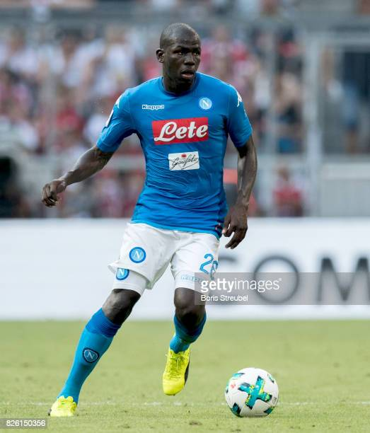 Kalidou Koulibaly of SSC Napoli runs with the ball during the Audi Cup 2017 match between SSC Napoli and FC Bayern Muenchen at Allianz Arena on...