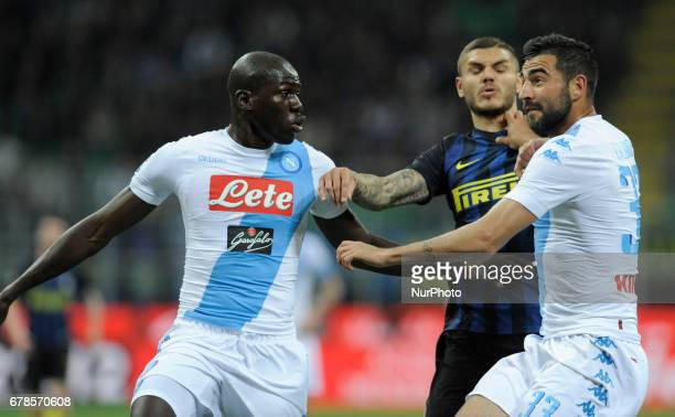 Kalidou Koulibaly Raul Albiol of Napoli player and Mauro Icardi of Inter player during the Serie A match between FC Internazionale and SSC Napoli at...