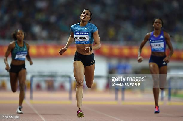 Kaliese Spencer of Jamaica competes to win the women's 400m hurdles event at the Diamond League athletics meeting in Shanghai on May 17 2015 AFP...