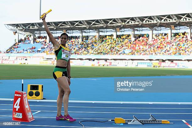 Kaliese Spencer of Jamaica prepares to compete in the Women's 4x400 metres relay final during day two of the IAAF World Relays at the Thomas Robinson...