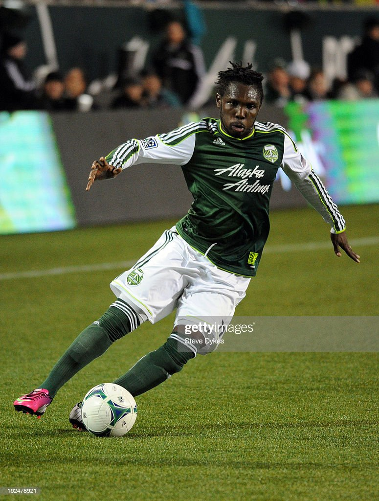 Kalif Alhassan #11 of the Portland Timbers brings the ball up the court during the second half of the game against AIK at Jeld-Wen Field on February 23, 2013 in Portland, Oregon. The game ended in a 1-1 draw.