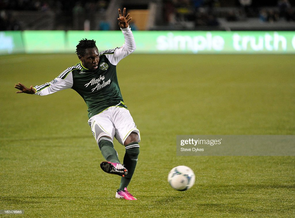 Kalif Alhassan #11 of the Portland Timbers puts a shot on goal during the second half of the game against AIK at Jeld-Wen Field on February 23, 2013 in Portland, Oregon. The game ended in a 1-1 draw.